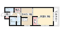 愛知県名古屋市守山区喜多山南の賃貸マンションの間取り
