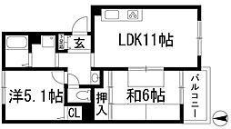 岡田山ハイツA棟[2階]の間取り