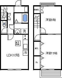 [テラスハウス] 茨城県土浦市小松2丁目 の賃貸【/】の間取り