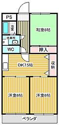 愛知県名古屋市中川区助光3丁目の賃貸アパートの間取り