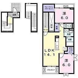 ミルフルール[3階]の間取り
