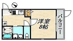 フォレスト蓮宮No3 1階1Kの間取り