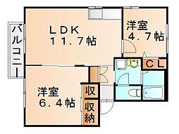 コンフォート筒井[2階]の間取り