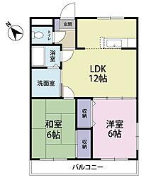静岡県浜松市中区高丘西1の賃貸アパートの間取り