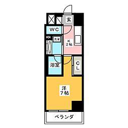 ラグゼナ武蔵新城 5階1Kの間取り