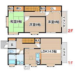 宮城県仙台市太白区鈎取2丁目の賃貸アパートの間取り