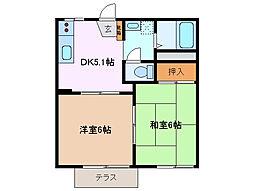 三重県四日市市下之宮町の賃貸アパートの間取り