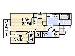 D-room陵厳寺[105号室]の間取り
