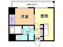 クラークマンションN17 10階1DKの間取り