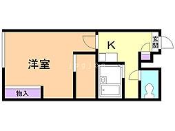ラフォーレ澄川 2階ワンルームの間取り