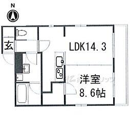 京都市営烏丸線 今出川駅 徒歩8分の賃貸マンション 4階1LDKの間取り