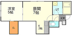 カナンコートIII 3階1LDKの間取り
