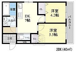 JR大阪環状線 京橋駅 徒歩8分の賃貸アパート 2階2DKの間取り