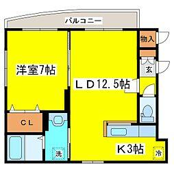 北海道札幌市東区北十九条東16丁目の賃貸マンションの間取り