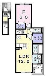 小田急江ノ島線 長後駅 バス17分 芝原入口下車 徒歩2分の賃貸アパート 2階1LDKの間取り