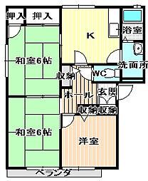 シャンボール角谷3[D101号室]の間取り