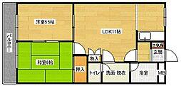 広島県広島市安佐南区八木3丁目の賃貸アパートの間取り