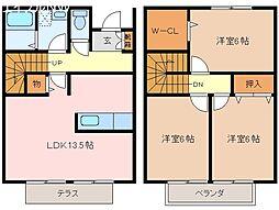 [テラスハウス] 三重県松阪市嬉野中川新町2丁目 の賃貸【/】の間取り