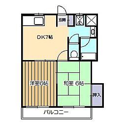 東京都小平市花小金井5の賃貸マンションの間取り