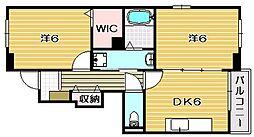 大阪府茨木市水尾2丁目の賃貸アパートの間取り