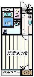 JR埼京線 武蔵浦和駅 徒歩13分の賃貸アパート 2階1Kの間取り