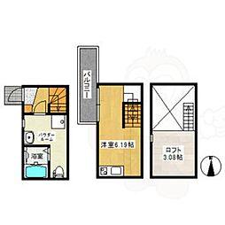 名鉄常滑線 大同町駅 徒歩6分の賃貸アパート 1階ワンルームの間取り