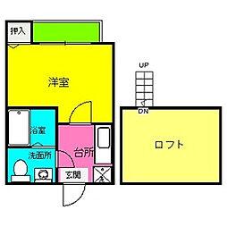 福岡県福岡市南区井尻2の賃貸アパートの間取り