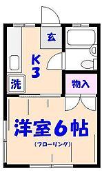 千葉県市川市南八幡3の賃貸アパートの間取り
