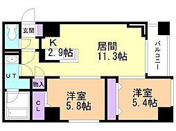 モンドミオ札幌近代美術館 8階2LDKの間取り