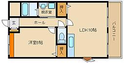 近鉄南大阪線 高鷲駅 徒歩25分の賃貸マンション 2階1LDKの間取り