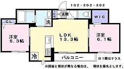 ファミーユ河瀬駅前 2階2LDKの間取り