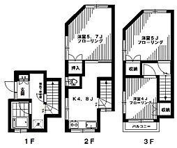 [タウンハウス] 東京都中野区江原町1丁目 の賃貸【/】の間取り
