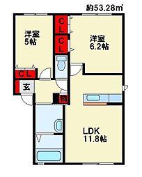 リーベン尾倉 A棟[1階]の間取り