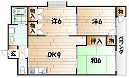 タツノ福柳木ハイツ[3階]の間取り