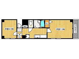 JR東海道・山陽本線 六甲道駅 徒歩5分の賃貸マンション 2階2Kの間取り