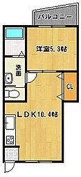福岡県筑後市大字熊野の賃貸アパートの間取り