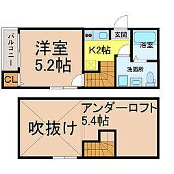 愛知県名古屋市中村区若宮町1丁目の賃貸アパートの間取り
