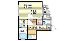 荒田ハウス[101号室]の間取り