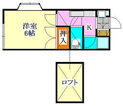 千葉県習志野市新栄1丁目の賃貸アパートの間取り