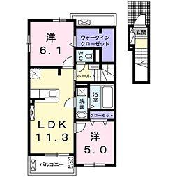 JR武蔵野線 吉川美南駅 徒歩27分の賃貸アパート 2階2LDKの間取り