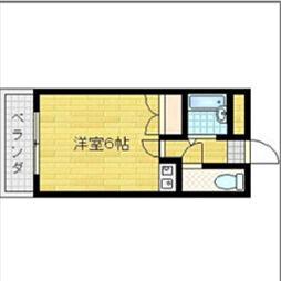 ビルシャナ千林 6階ワンルームの間取り
