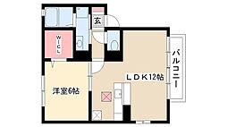 愛知県名古屋市南区元柴田東町4丁目の賃貸アパートの間取り