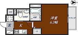 近鉄奈良線 河内花園駅 徒歩3分の賃貸マンション 5階1Kの間取り