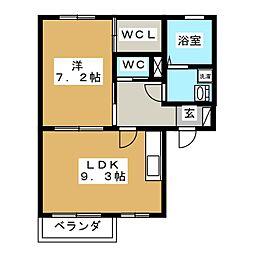 Home'like あんず 1階1LDKの間取り