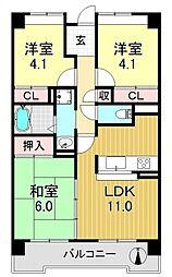 サニークレスト平野西脇[5O5号室号室]の間取り