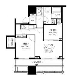 東京メトロ有楽町線 月島駅 徒歩1分の賃貸マンション 5階2LDKの間取り
