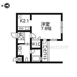 ベラジオ京都駅東II205 2階1Kの間取り