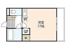 プレジャーコーポ三宅 2階ワンルームの間取り