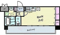 JR大阪環状線 福島駅 徒歩3分の賃貸マンション 3階1Kの間取り
