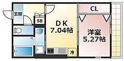 サクラレジデンス巽 1階1DKの間取り